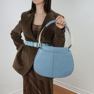 Pale Blue Vintage Purse  with silver hoop handle